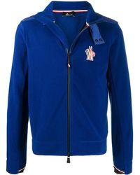 3 MONCLER GRENOBLE Zipped Embroidered Logo Jumper - Blue