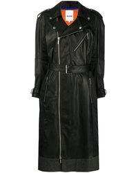 Koche Faux Leather Zip-up Trench Coat - Black