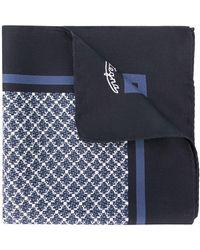 Ermenegildo Zegna Carré de poche à motif géométrique - Bleu