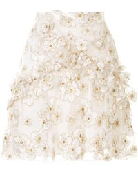 Macgraw Souffle Embroidered Organza Mini Skirt - White