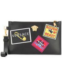 Versace パッチディテール クラッチバッグ - ブラック