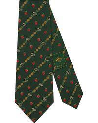 Gucci Corbata con doble G y motivo de fresas y piñas - Verde