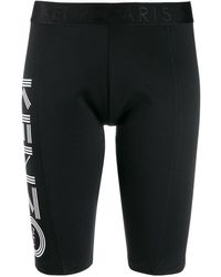 KENZO Logo Print Cycling Shorts - Black