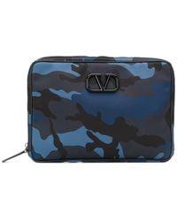 Valentino Garavani Vring Camouflage-print Laptop Case - Blue