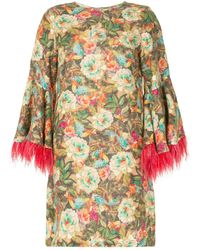 Bambah Floral Feather-sleeve Dress - Multicolour