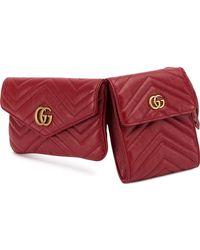 Gucci Двойная Поясная Сумка 'GG Marmont' - Красный