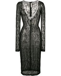 Christopher Kane Эластичное Кружевное Платье - Черный
