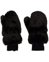 Givenchy Faux Fur Mittens - Black