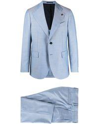 Gabriele Pasini Geometric-print Single-breasted Suit - Blue