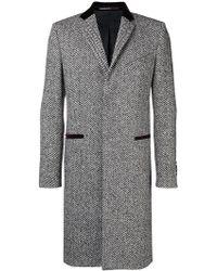 Givenchy Abrigo herringbone con cuello de terciopelo - Negro