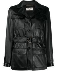 Saint Laurent Однобортное Пальто С Завязками - Черный