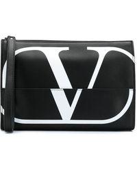 Valentino Garavani Vロゴ クラッチバッグ - ブラック