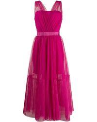 Pinko Платье Миди Со Вставкой Из Тюля - Розовый