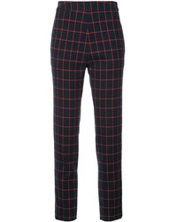 Macgraw Cropped Check Pants - Blue