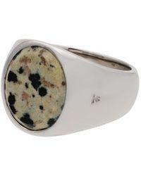 Tom Wood Silver Cushion Leopard Jaspar Signet Ring - Многоцветный