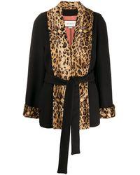 Gucci レオパードパネル コート - ブラック