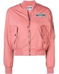 Moschino Zipped Logo Bomber Jacket - ピンク