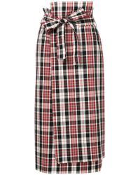 Astraet | Plaid Print Midi Skirt | Lyst