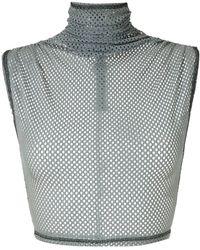 À La Garçonne Mesh Cropped Top - Grey