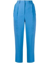 N°21 Ruffle-trimmed Cropped Cigarette Trousers - Blue