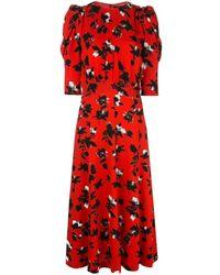 Derek Lam Платье Миди С Пышными Рукавами И Цветочным Принтом - Красный