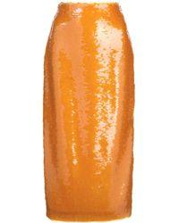 Prabal Gurung Sequined Pencil Skirt - Orange