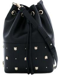 0c70fda4df97 Lyst - Ferragamo Leopard Print Gancio Lock Shoulder Bag in Black