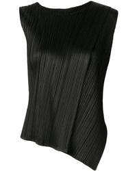 Pleats Please Issey Miyake Double Layered Pleated Tank Top - Black