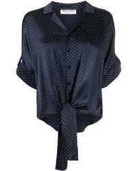 Saint Laurent Рубашка С Завязками И Заклепками - Синий
