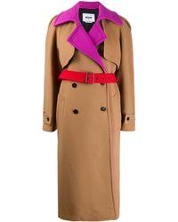 MSGM Двубортное Пальто В Стиле Колор-блок - Многоцветный