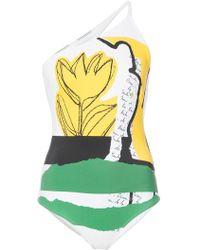 Oscar de la Renta - One Shoulder Printed Swimsuit - Lyst