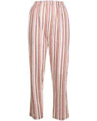 Bambah Striped Straight-leg Linen Trousers - Red