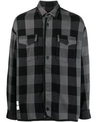 Facetasm チェック ボタン シャツ - ブラック
