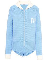 Miu Miu Intarsia Knit Bodysuit - Blue