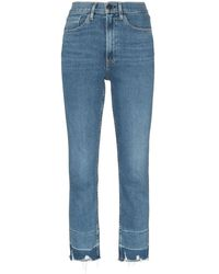 3x1 Shelter Cropped Frayed Jeans - Blue