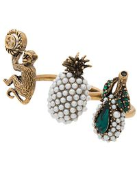 Gucci - Trio Ring With Fruit And Monkey Motif - Lyst