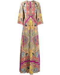 Etro Платье С Принтом Пейсли - Пурпурный