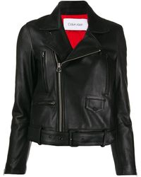 Calvin Klein バックル レザージャケット - ブラック