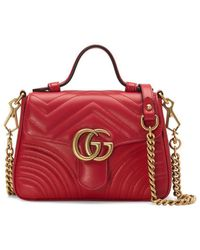 Gucci Rode GG Marmont Mini Handtas - Rood