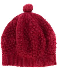 N.Peal Cashmere Bramble Stitch Cashmere Beret - Red