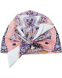 Etro Paisley Print Silk Turban - Blue