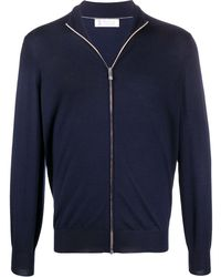 Brunello Cucinelli Fine Knit Zipped Sweater - Blue