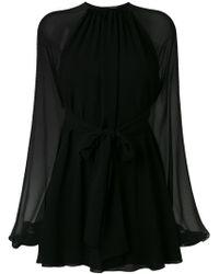 Saint Laurent Жоржетовое Платье Мини - Черный