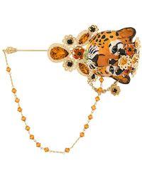 Dolce & Gabbana Embellished Tiger Brooche - Metallic