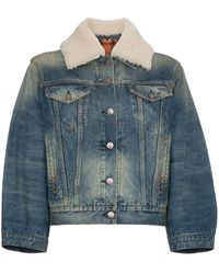 Gucci Lion Motif Denim Jacket - Blauw