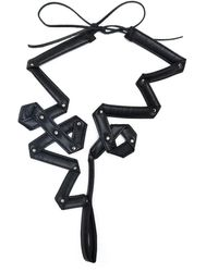 Yohji Yamamoto Swirl Tie Fastening Necklace - Black