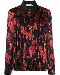 Tory Burch Плиссированная Рубашка С Цветочным Принтом - Черный