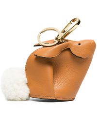 Loewe Camel Bunny Leather Shearling Tail Bag Charm - Bruin