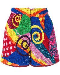 Manish Arora Swirl Patchwork Sequin Shorts - Blue