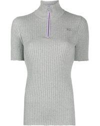 Courreges Half-zip Ribbed Top - Grey